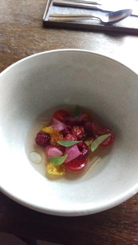 Tomato, rasberry, pickled rose hips, lemon basil
