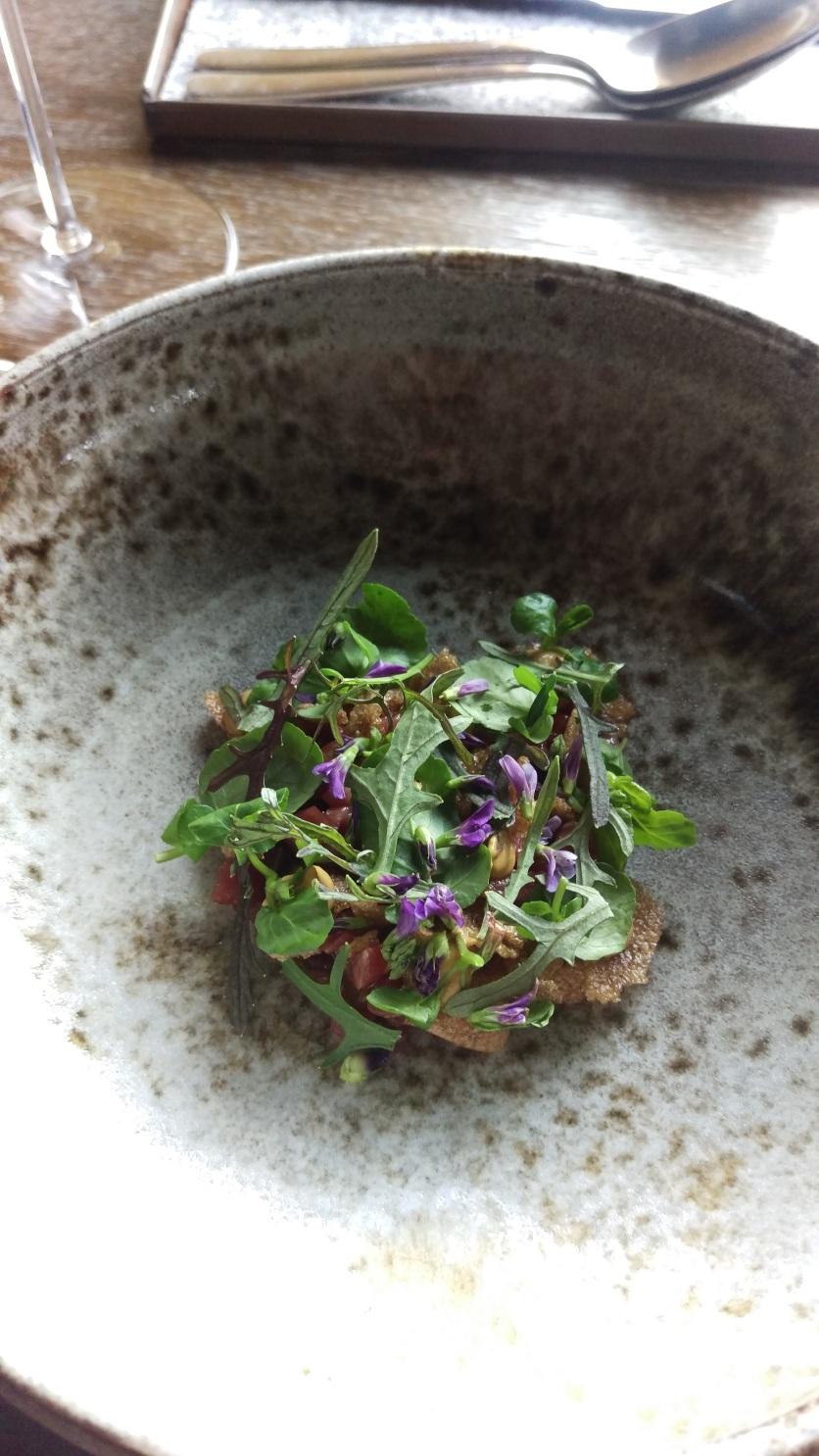 120 day aged beef neck, bitter herbs, chesnut glaze, mushroom chips