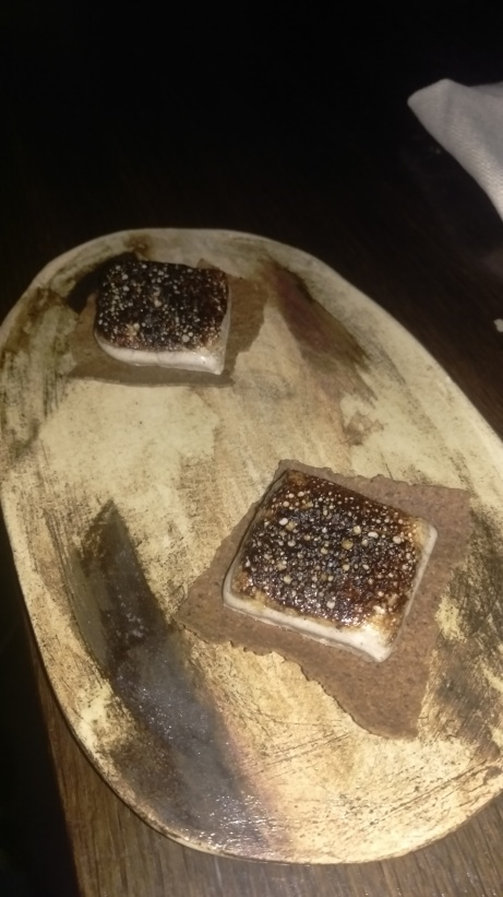 House marshmellows with coffee ground crackers